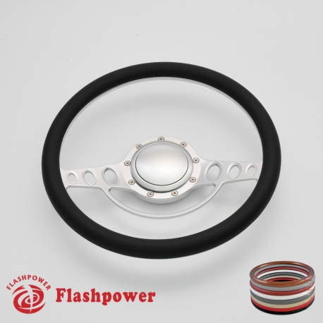 """Good Times 15.5"""" Satin Billet Steering Wheel with Half Wrap and Horn Button"""