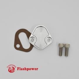Billet Fuel Block-off PLate Silver