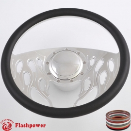 "Flames 14"" Polished Billet Steering Wheel Kit Full Wrap with Horn Button and Adapter"