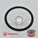 """Radiant 14"""" Polished Billet Steering Wheel Kit Full Wrap with Horn Button and Adapter"""