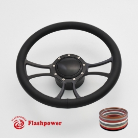 "Viral 14"" Black Billet Steering Wheel Kit Half Wrap with Horn Button and Adapter"