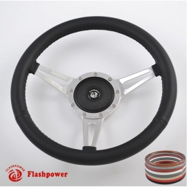 "14"" Classic Wrapped Steering Wheel 9 bolt with Horn Button"