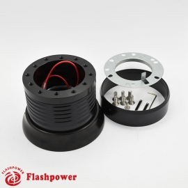 6161B  Flashpower 6 Bolt Steering Wheel Adapter Boss Kit For Ford Mustang Thunderbird Galaxie Mercury 65-68 Black