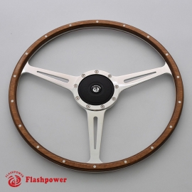 17'' Flat Laminated Wood Steering Wheel Polishe with plastic horn button