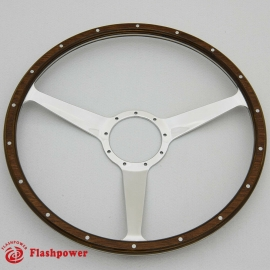 17'' Laminated Wood Steering Wheel solid spokes Polished