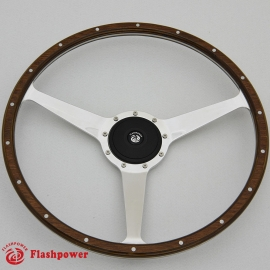 17'' Laminated Wood Steering Wheel solid spokes polished w/plastic horn button
