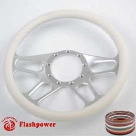 "Racer 15.5"" Polished Billet Steering Wheel with Half Wrap Rim"
