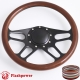 """Trickster 14"""" Black Billet Steering Wheel with Half Wrap and Horn Button"""