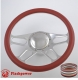 """Trickster 14"""" Polished Billet Steering Wheel Kit Half Wrap with Horn Button and Adapter"""