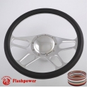 """15.5"""" Polished Billet Steering Wheel Kit Half Wrap with Horn Button and Adapter"""