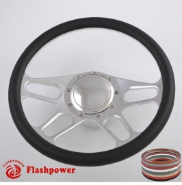 "15.5"" Polished Billet Steering Wheel Kit Half Wrap with Horn Button and Adapter"