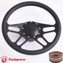 """15.5"""" Black Billet Steering Wheel Kit Half Wrap with Horn Button and Adapter"""