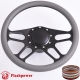 """Trickster 14"""" Black Billet Steering Wheel Kit Half Wrap with Horn Button and Adapter"""