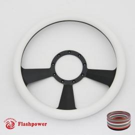 """Radiant 14"""" Black Billet Steering Wheel with Half Wrap Rim"""