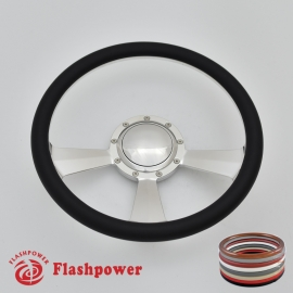 "15.5"" Polished Billet Steering Wheel with Half Wrap and Horn Button"