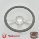 """Radiant 14"""" Satin Billet Steering Wheel with Half Wrap and Horn Button"""