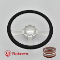 """Radiant 14"""" Satin Billet Steering Wheel Kit Half Wrap with Horn Button and Adapter"""