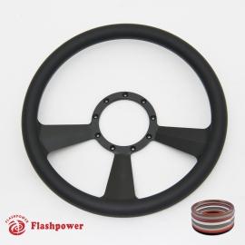 """Radiant 14"""" Black Billet Steering Wheel with Full Wrap"""