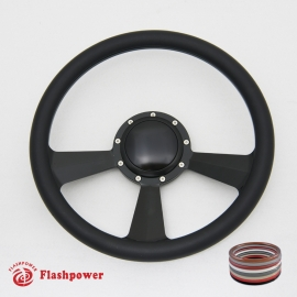 """Radiant 14"""" Black Billet Steering Wheel with Full Wrap and Horn Button"""