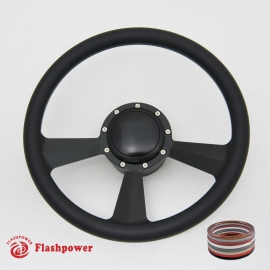 """Radiant 14"""" Black Billet Steering Wheel Kit Full Wrap with Horn Button and Adapter"""