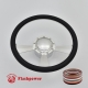 """Radiant 14"""" Satin Billet Steering Wheel Kit Full Wrap with Horn Button and Adapter"""