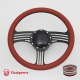 """Zephyr 14"""" Black Billet Steering Wheel Kit Half Wrap with Horn Button and Adapter"""