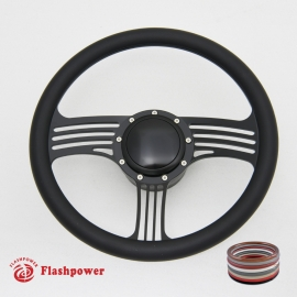 "Zephyr 14"" Black Billet Steering Wheel Kit Half Wrap with Horn Button and Adapter"