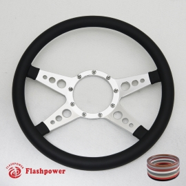 "14"" Polished Billet Steering Wheel with Half Wrap Rim"
