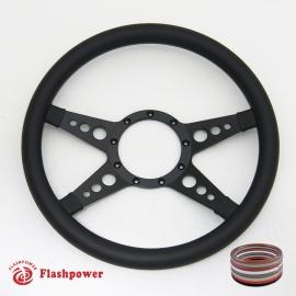 """14"""" Black Billet Steering Wheel with Half Wrap Rim"""