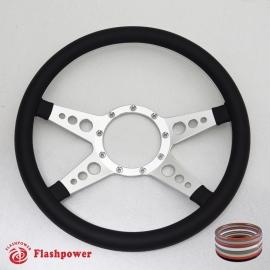 "14"" Polished Billet Steering Wheel with Half Wrap Rim"