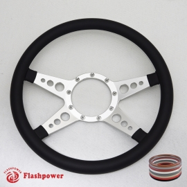 "14"" Satin Billet Steering Wheel with Half Wrap Rim"