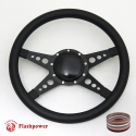 """14"""" Black Billet Steering Wheel with Half Wrap and Horn Button"""