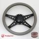 """Bio-Hazard 14"""" Black Billet Steering Wheel with Half Wrap and Horn Button"""