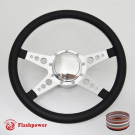 """14"""" Polished Billet Steering Wheel Kit Half Wrap with Horn Button and Adapter"""