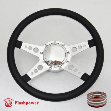 """Bio-Hazard 14"""" Polished Billet Steering Wheel Kit Half Wrap with Horn Button and Adapter"""