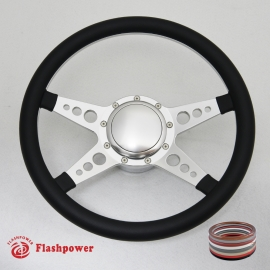 """14"""" Satin Billet Steering Wheel Kit Half Wrap with Horn Button and Adapter"""