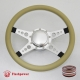 """Sprint 14"""" Satin Billet Steering Wheel Kit Half Wrap with Horn Button and Adapter"""