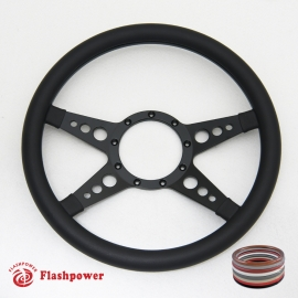 "14"" Black Billet Steering Wheel with Full Leather Wrap"