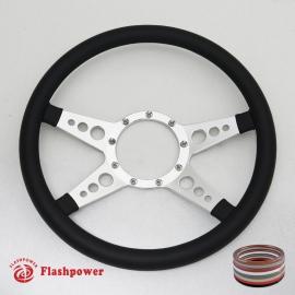 "Bio-Hazard 14"" Satin Billet Steering Wheel with Full Leather Wrap"