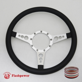 "Bio-Hazard 14"" Polished Billet Steering Wheel with Half Wrap Rim"
