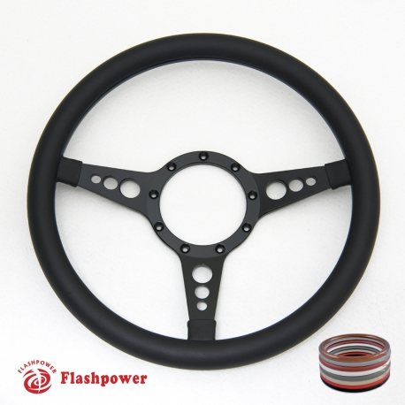 "Bio-Hazard 14"" Black Billet Steering Wheel with Half Wrap Rim"