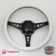 "Bio-Hazard 14"" Black Billet Steering Wheel with Half Wrap and Horn Button"