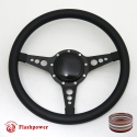 "14"" Black Billet Steering Wheel with Half Wrap and Horn Button"