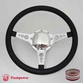 "14"" Polished Billet Steering Wheel Kit Half Wrap with Horn Button and Adapter"