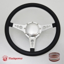 "14"" Satin Billet Steering Wheel Kit Half Wrap with Horn Button and Adapter"