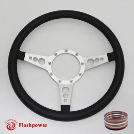 "Bio-Hazard 14"" Satin Billet Steering Wheel with Full Leather Wrap"