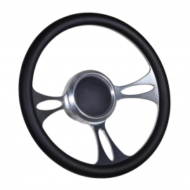 "14"" Vectra Boat Billet steering wheel W/Adapter 3 spoke 3/4"" tapered key Marine"