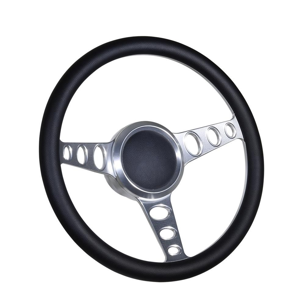 "Boat Black Billet steering wheel W//Adapter 3 spoke boats 3//4/"" tapered key Marine"