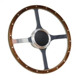 "15"" Flat Wood Boat Steering wheel Classic 4 Spoke Style with 3/4"" Tapper Key Way Adapter"