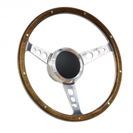 "15"" Classic Wood Style Boat Steering Wheel polished w/ 3/4"" Keyway Adapter"